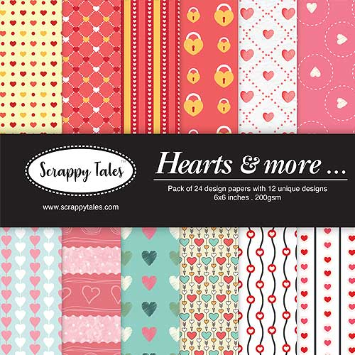 Pattern Paper 6x6 - Hearts & More - Pack of 24