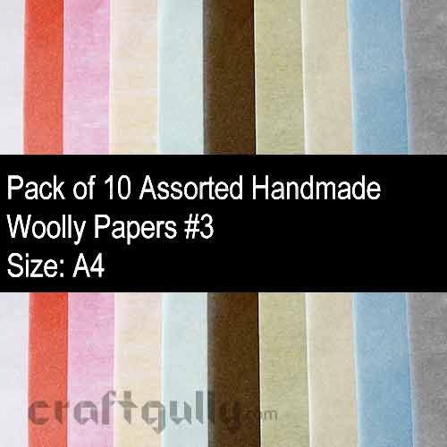 Handmade Paper - Woolly Assorted #3 - Pack of 10