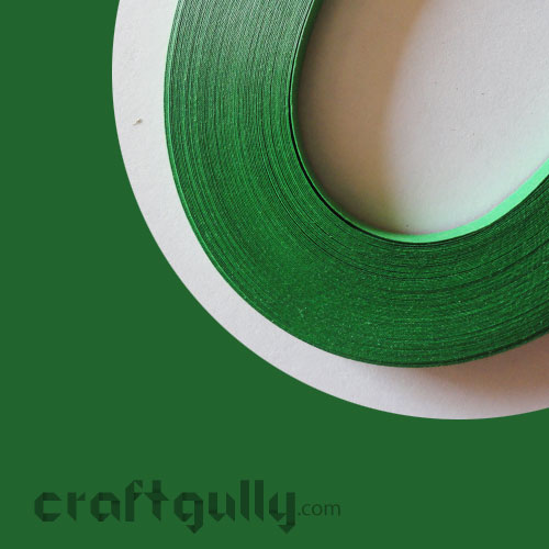 Quilling Paper Strips 3mm - Bottle Green - 17Inch - 100 Strips