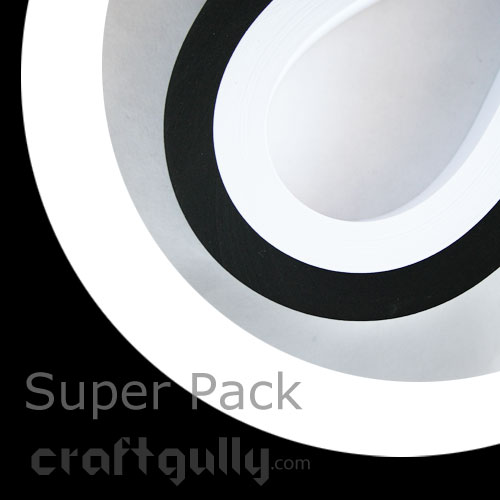 Quilling Paper Strips 5mm - Super Pack - Black & White - 11inch - 200 Strips
