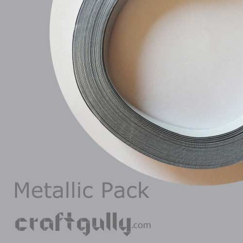 Quilling Paper Strips 3mm - Metallic Silver - 17Inch - 100 Strips