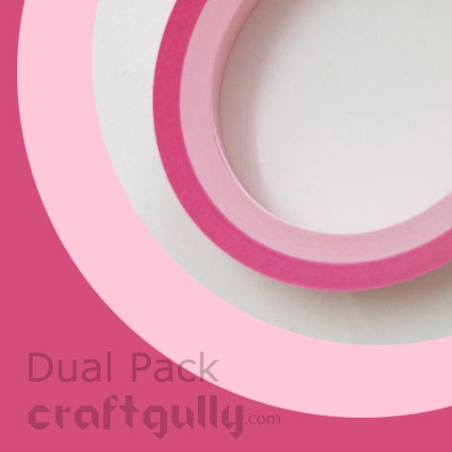 Quilling Paper Strips 3mm - Dual Pinks - 17Inch - 100 Strips