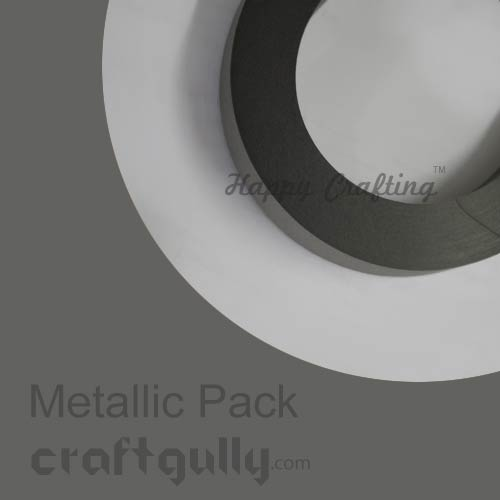 Quilling Paper Strips 3mm - Metallic Dark Grey - 17 Inch - 100 Strips
