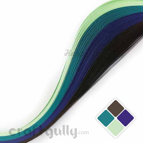 Quilling Paper Strips 3mm - Theme - Peacock - 17Inch - 100 Strips