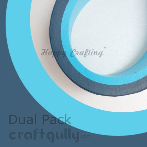 Quilling Paper Strips 5mm - Dual - Blues - 17Inch - 100 Strips
