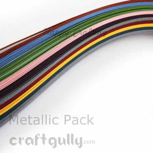 Quilling Paper Strips of 10mm - Metallic Assorted - 17Inch - 80 Strips