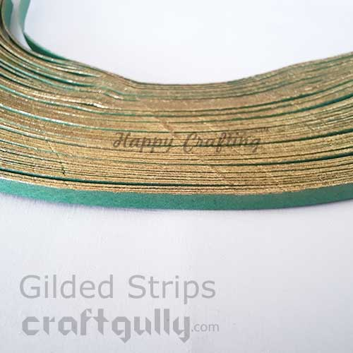 Quilling Paper Strips 3mm - Gilded Golden With Bottle Green - 100 Strips