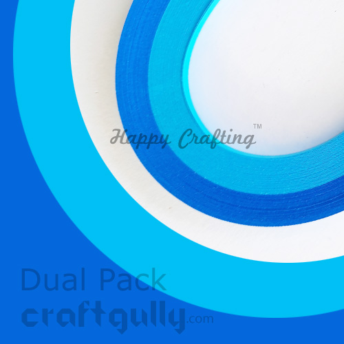 Quilling Strips 2mm - Dual Blue #2 - 17inch - 100 Strips