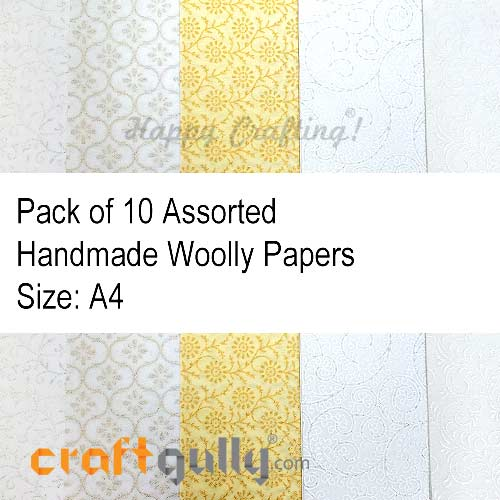 Handmade Paper - Woolly Assorted #6 - Pack of 10