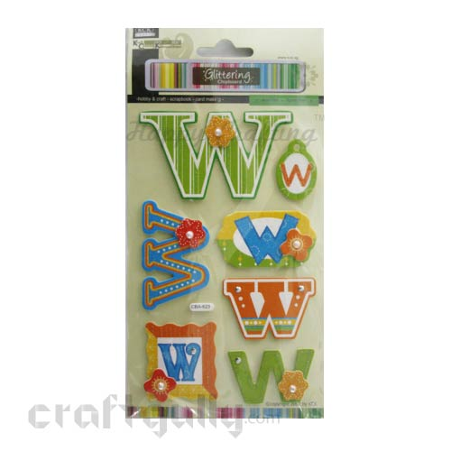 Paper 3D Stickers - Alphabet 'W'