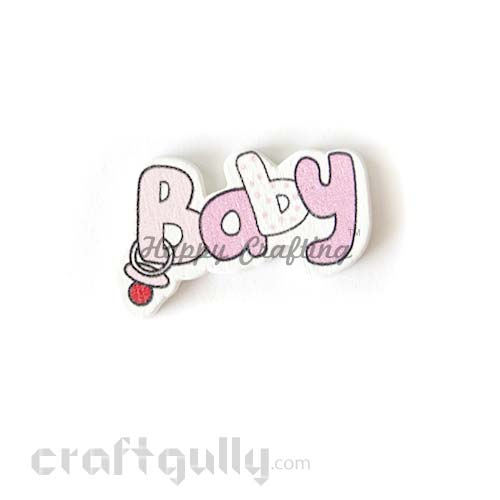 Laser Cut Wooden 35mm - Baby - Pink