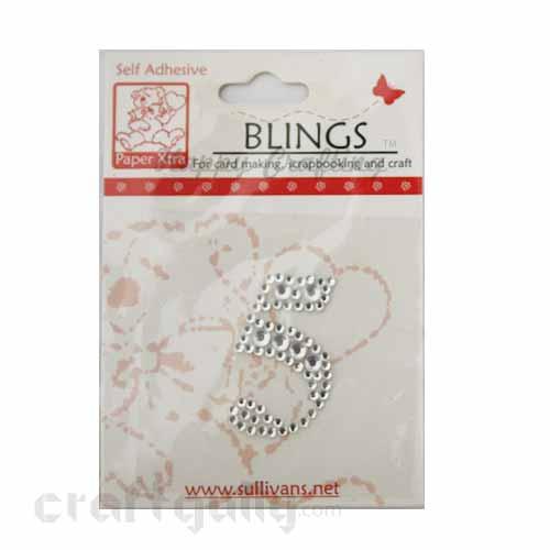 Rhinestone Stick-ons - Number Stickers - 5