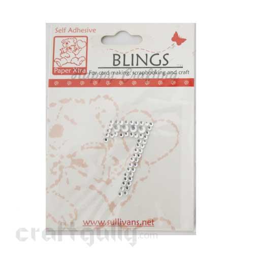 Rhinestone Stick-ons - Number Stickers - 7