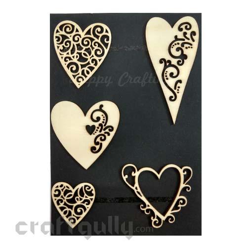 Laser Cut - Wooden Elements #9 - Hearts