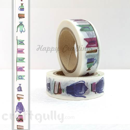 Washi Tapes 15mm -  Pattern #1 - 10 meters