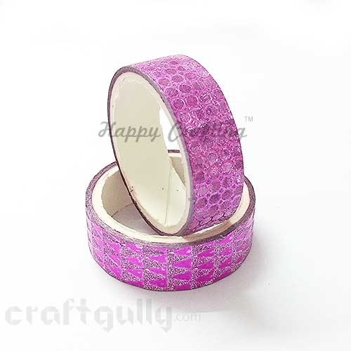 Shimmer Tapes 15mm - Patterned - Dark Pink - Pack of 1