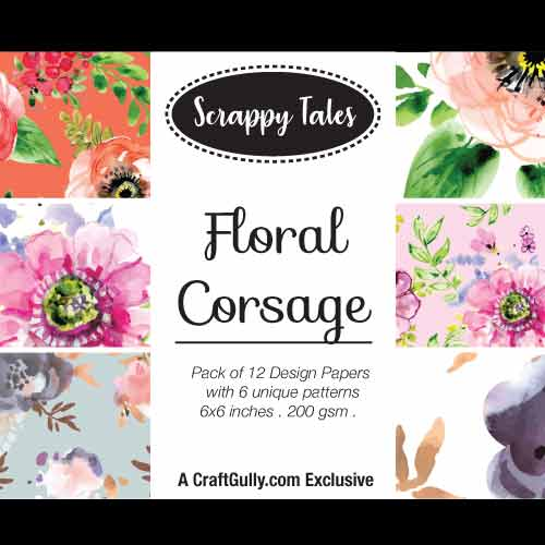 Pattern Paper 6x6 - Floral Corsage - Pack of 12