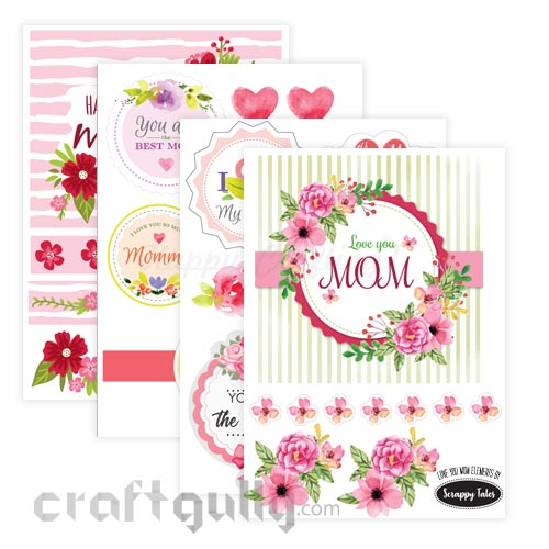 Paper Elements A5 - Love You Mom - Pack of 4 Sheets