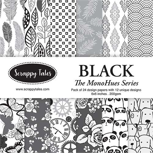 Pattern Paper 6x6 - MonoHues Series - Black - Pack of 24