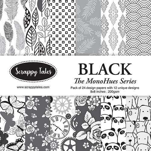 Pattern Paper 8x8 - MonoHues Series - Black - Pack of 24