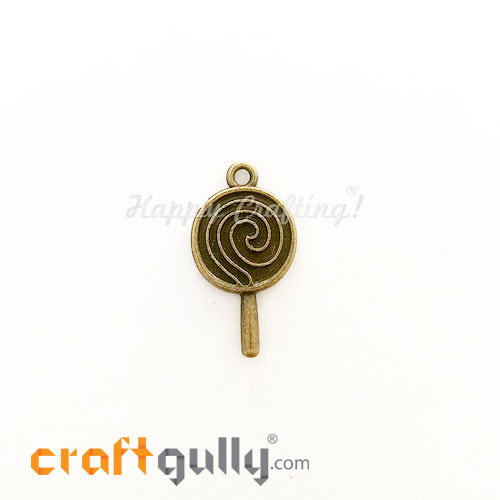 Charms / Elements 26.5mm Metal - Food Lollipop - Bronze - Pack of 1