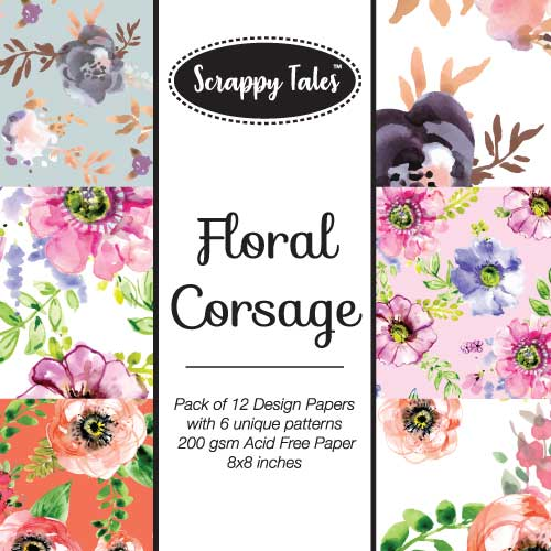 Pattern Paper 8x8 - Floral Corsage - Pack of 12