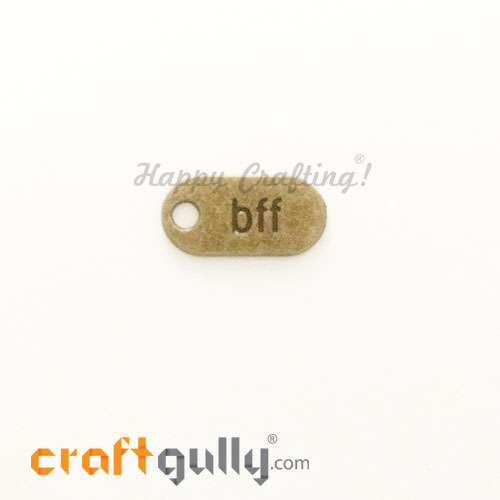 Charms / Elements 26mm Metal - Sentiment Tag BFF - Bronze - Pack of 1
