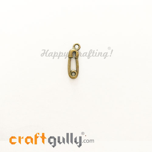 Charms / Elements 19mm Metal - Sewing Safety Pins - Bronze - Pack of 2
