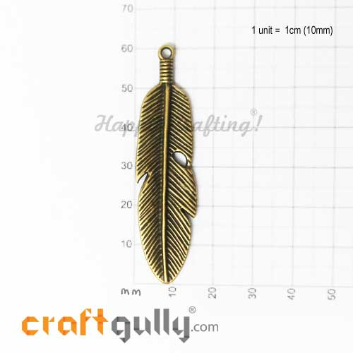 Charms / Elements 60mm Metal - Feather #2 - Bronze - Pack of 1