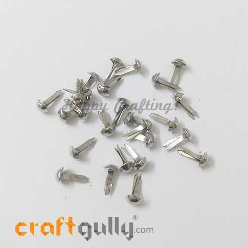 Brads 5mm Round - Metallic Silver - Pack of 25