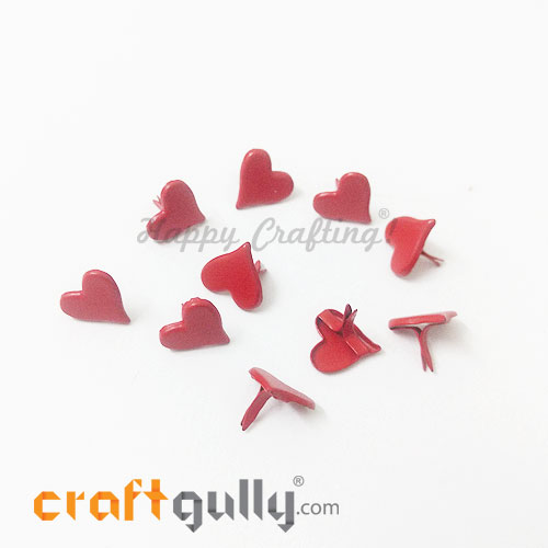 Brads 11mm Heart - Red - 10 Brads