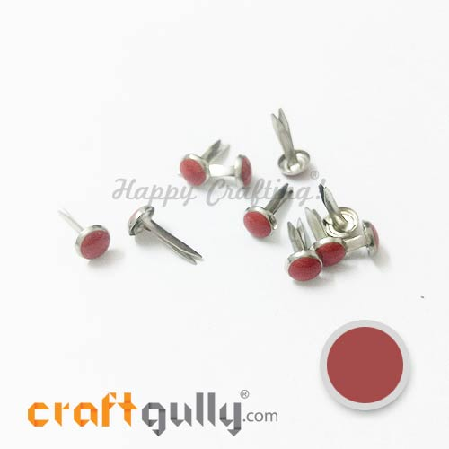 Brads 7mm Round - Enamel Red - 10 Brads