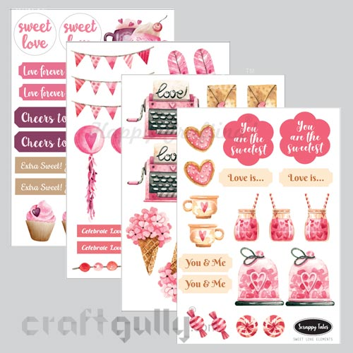 Paper Elements A5 - Sweet Love - Pack of 4 sheets