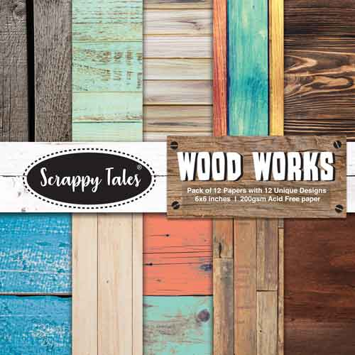 Pattern Paper 6x6 - Wood Works - Pack of 12