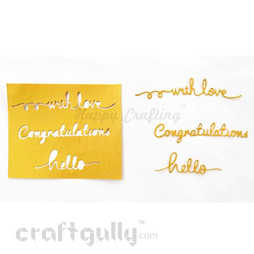 Die-Cut Sentiments #1 - Metallic Golden - Pack of 3