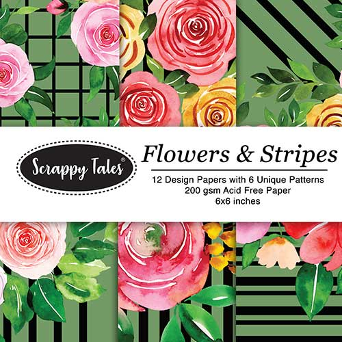 Pattern Papers 6x6 - Flowers & Stripes - Pack of 12