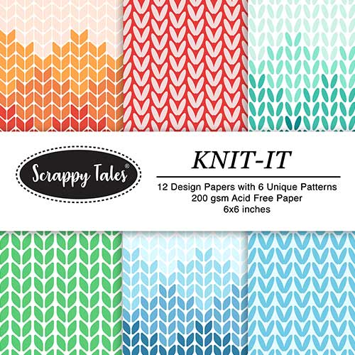 Pattern Paper 6x6 - Knit It - Pack of 12