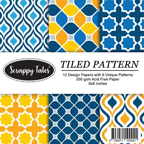 Pattern Paper 6x6 - Tiled Pattern - Pack of 12