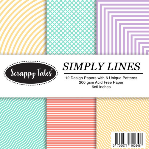 Pattern Papers 6x6 - Simply Lines - Pack of 12