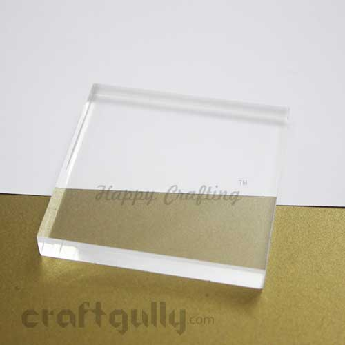 Stamping Block - Acrylic Clear - Square 3.5 x 3.5 inches